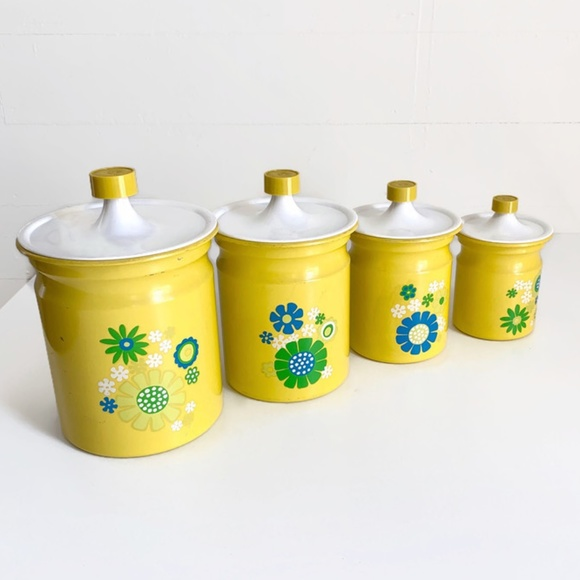 Vintage Other - SOLD Vintage Kromex Canister Set Yellow Flowers